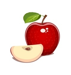 Red apple with leaf and clove vector image vector image