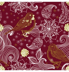Seamless background with bird and flower vector image vector image