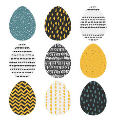 set of 9 handdrawn textured eggs vector image