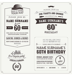 Set of adult birthday invitation design elements vector image vector image