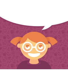 cartoon girl in glasses with speech bubble vector image