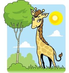Cute Giraffe and Tree vector image vector image