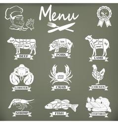 Set of butcher shop labels and design elementsn vector image vector image