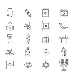 symbol of israel thin line icon set vector image vector image