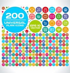 200 Universal Plain Icon Set vector image vector image