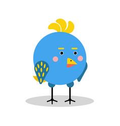 cute cartoon blue bird character in geometric vector image vector image