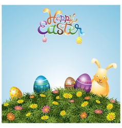 Easter Eggs and Bunny on Green Grass Hill vector image vector image