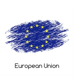 Simple European Union flag EU grunge flag isolated vector image vector image