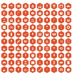 100 dessert icons hexagon orange vector