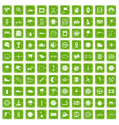 100 motorsport icons set grunge green vector