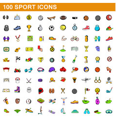 100 sport icons set cartoon style vector