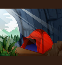 A camping tent in cave vector