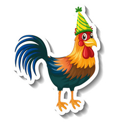 A sticker template with chicken wearing party hat vector