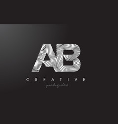 Ab a b letter logo with zebra lines texture vector