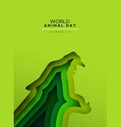 Animal day papercut card wild jaguar cat vector