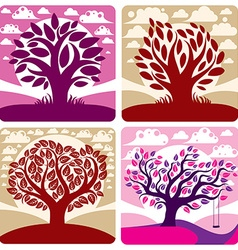 Art graphic of stylized tree and peaceful pu vector image