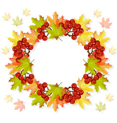autumn leaves wreath decor seasonal card vector image