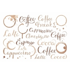 Background with coffee words in retro style vector