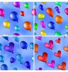 Balloons in sky seamless set vector image