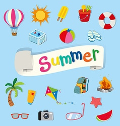 Banner design with summer objects vector