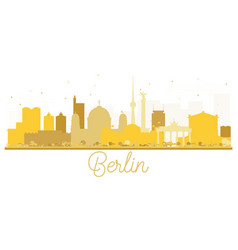 berlin germany city skyline golden silhouette vector image