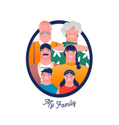 big family people character photo frame isolated vector image