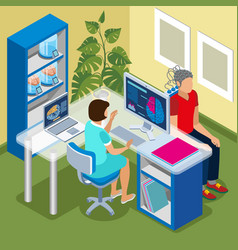 Brain scanning isometric composition vector