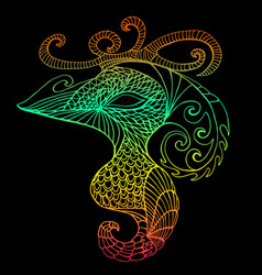 bright mystical bird vintage psychedelic style vector image