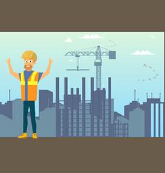 Builder on construction site flat concept vector