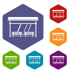 Bus stop icons set vector