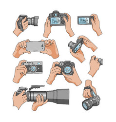 Camera professional photocamera in hands vector