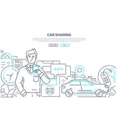Car sharing - modern line design style web banner vector