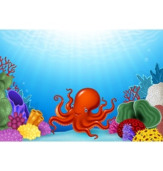 Cartoon Octopus with Coral Reef Underwater vector
