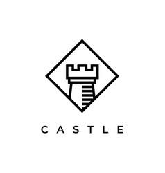 castle in square logo design template vector image