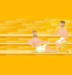 Caucasian men relaxing in sauna vector
