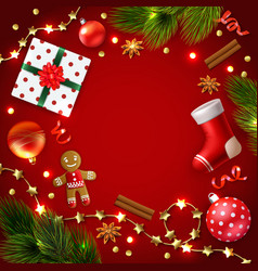 christmas decoration objects composition vector image