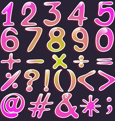 Colourful numbers and symbols vector