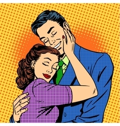 Couple in love hugging husband wife retro vector image