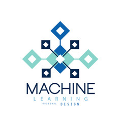 Creative geometric logo machine learning modern vector
