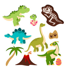 Cute dinosaurs cartoon dino baby dragon in egg vector