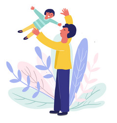 dad throwing his son in air vector image
