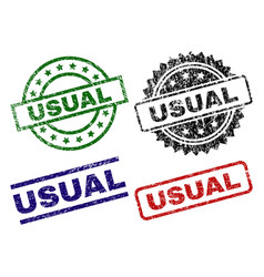 Damaged textured usual stamp seals vector