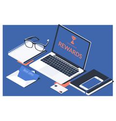 Digital online rewards profit office working vector