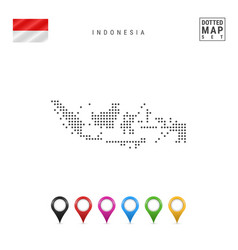 Dotted map indonesia simple silhouette vector