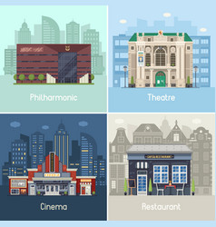 Entertainment city places and buildings vector