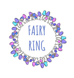 fairy ring lettering in a mushroom wreath vector image