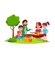 family with children on a picnic in nature vector image