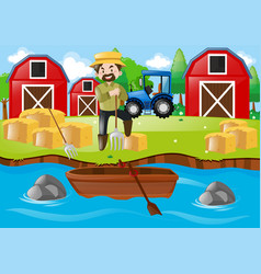 Farmer working on the farm field vector