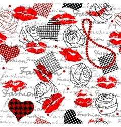 Fashion pattern with a lipsticks vector