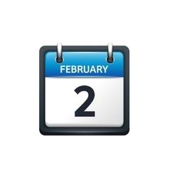 February 2 Calendar icon flat vector